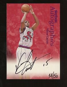 1999 Fleer Skybox Vince Carter Autograph On Card 14/50 Black Ink Century Marks