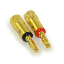 Speaker Wire - Banana Plugs (Pair) Black/Red Gold Plated  Screw Only