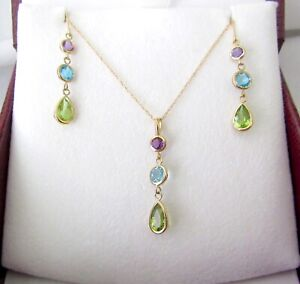 14K Gold Amethyst Topaz Peridot Set Signed CID/Clyde Duneier Necklace/Earrings