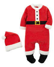 Carter's Baby Boy's 2-Piece Red Velour Santa Suit Set Newborn nb NWT