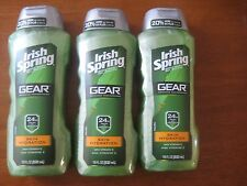 lot of 3 - New Irish Spring Gear Hydrating Men's Body Wash, 18oz, each