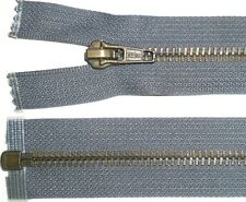 "DMC ZIP GREY, 20""/51CM, ANTIQUE BRASS TEETH, OPEN END, HEAVY DUTY, FREE P&P"