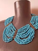 Vintage multi strand turquoise colour glass seed beads necklace bohemian