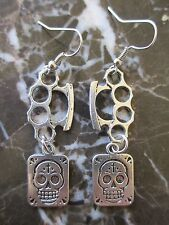 Gothic Emo Silver Brass Knuckles & Sugar Skull Day of the Dead Earrings-Scene