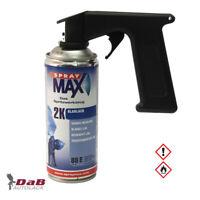 SprayMax 2K Klarlack benzinfest hochglänzend Spray 400ml + Spraydosen Handgriff