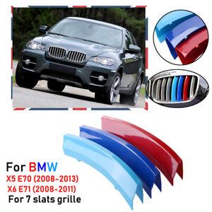 For 2008-2013 Car X5 E70 Kidney Grille Gill M Sport 3 Colour Cover Stripe Clips