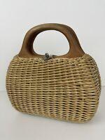 Vintage Coated Wicker Woven Basket Purse Wood Handle Bag Hong Kong
