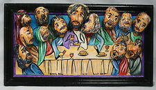 JESUS THE LAST SUPPER Rock Art Made from river rocks, acrylic and wood Very Cool