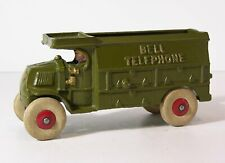 """1920s MACK C-CAB TYPE BELL TELEPHONE SERVICE TRUCK CAST IRON TOY By HUBLEY 8.25"""""""