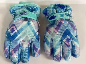 Thermolite Winter Gloves Aqua Blue Print Childrens Place Youth Sz L/ XL 8+ VGUC