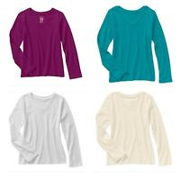 Faded Glory Girls' Long Sleeve V Neck Crew Neck T Shirt Top Blouse Tee