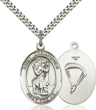 925 Sterling Silver St Christopher Paratrooper Military Catholic Medal Necklace