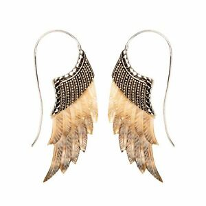 81stgeneration .925 Sterling Silver Mother of Pearl Feather Wing Tribal Earrings