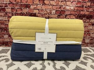 POTTERY BARN TEEN BOLD RUBY REVERSIBLE TWIN  QUILT BLUE YELLOW STRIPED