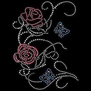 Strassmotiv - Rosenranke mit Schmetterling hotfix zum Aufbügeln Bügelbild