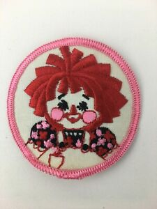Raggedy Ann Sew On Embroidered Round Patch Vintage