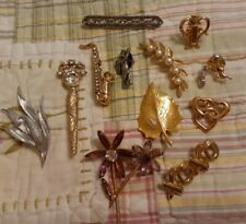 New listing Vintage to Now Brooch Lot of 12 * Flowers Saxophone MCM Art Deco Style