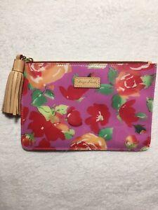 Dooney & Bourke Zip Clutch Carrington Pouch Bag Pink Floral Rose Garden Tassel