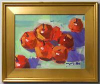 JOSE TRUJILLO Original Oil Painting Red Apples Still Life Food Restaurant Art