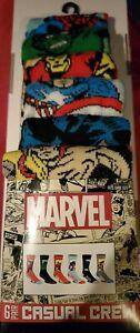 Marvel Avengers mens casual crew socks fits shoe size 8 -12 6 pairs New In Pack!