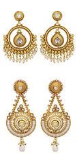 Jwellmart Indian Bollywood CZ Wedding Faux Pearl Chandbali Polki Jhumka Earrings