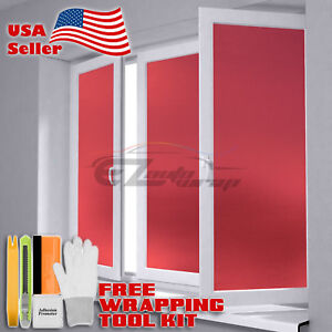【Frosted Film】 Red Glass Home Bathroom Window Security Privacy Sticker Sheet DIY