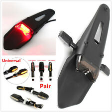 Motorcycle Bicycle Fender With Tail lights + Pair Amber LED Turn Signal lights