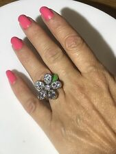Juicy Couture Daisy Flower Clear Silver Plated Fashion Ring NWOT SIZE 7-9 ADJ