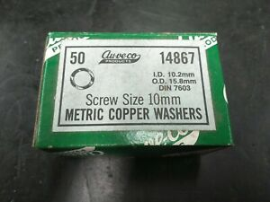 (Box of 50) Au-ve-co Metric Copper Washers for 10mm Screws ID 10.2mm OD 15.8mm
