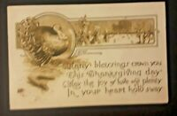 1910 Peoria IL To Wood River NE Embossed Thanksgiving Postcard Cover