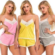 US Women Sexy Lingerie Sleepwear Cotton Babydoll Lace Nightwear Pajamas Set