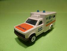 MAJORETTE 255 AMBULANCE NYC EMS - 1:60 - RARE SELTEN - GOOD CONDITION
