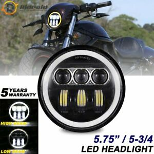 """5.75"""" 5-3/4'' Round Sealed Black LED Headlight High Low Beam DRL for Motorcycle"""