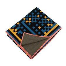 NWT $395 ZUZUNAGA Tokyo Bitmap Blue Luxury Soft Fine Wool Throw Blanket DWR NEW