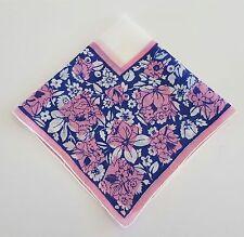 Handkerchief Blue White and Pink Flowers Vintage Floral Cotton Hankie