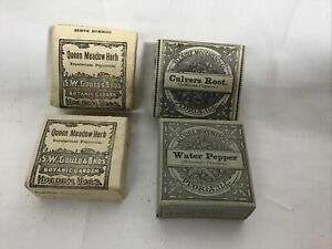 Lot of 4 Antique Herbal Medicines by Allaire Woodward & SW Gould & Bros Unused B