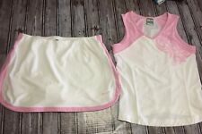 NIKE FIT DRY Women's Tennis Outfit Tank Top and Skirt White/pink Sz S