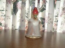 Red Cardinal Ceramic/Stoneware Bell & Clapper with Embossed Holly Leaves