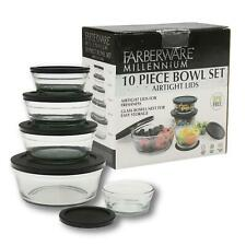 NEW 10 Piece Farberware Glass Bowl Set with Black Lid