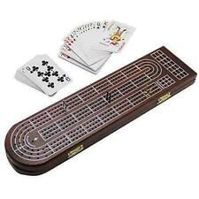 Wood Cribbage Board Game Set 3 Tracks W Metal Pegs Cards Storage Area Games