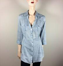 GUESS Damen Bluse L 40 Hellblau Oberteil Top Hemdbluse Tunika mit Taschen Casual