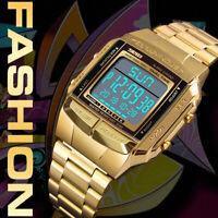 Yellow Gold SKMEI Watch Sport Mens Alarm Waterproof Digital LED Wristwatch Steel