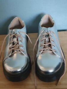M & S Metallic Silver Lace up Ladies Shoes Size 6 (EUR 39.5) New Unworn