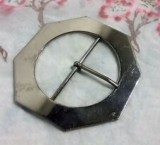 ANCIENNE BOUCLE DE CEINTURE hexagonal métal chrome 7.1 cm Buckle P1 C1