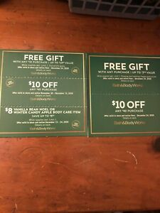 5 Bath and Body Works Coupon Gift, (2)$10 Off $40, $8 Body Care Exp 12/13-12/24
