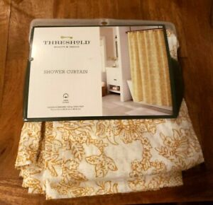 "Theshold Shower Curtain floral Golden Yellow Texture Cloth 72"" Cotton"