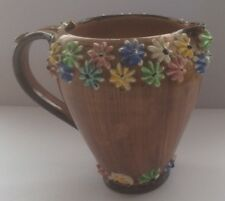 VINTAGE ITALIAN BROWN GLAZED JUG /  VASE WITH MULTICOLOURED APPLIED FLOWERS