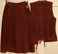 "VTG Brown Leather Outfit Tag Says 7-8 Measure Vest 17"" B 21"" L Skirt 25"" W 27"" L"