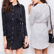 NEW Women Long Sleeve Slim Casual Striped Party Dress Cocktail Mini Shirt Dresse