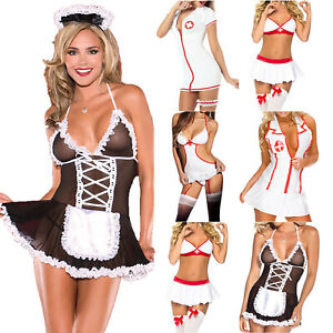 Women Sexy Naughty Maid Nurse Uniform Cosplay Adult Costume Lingerie Outfit